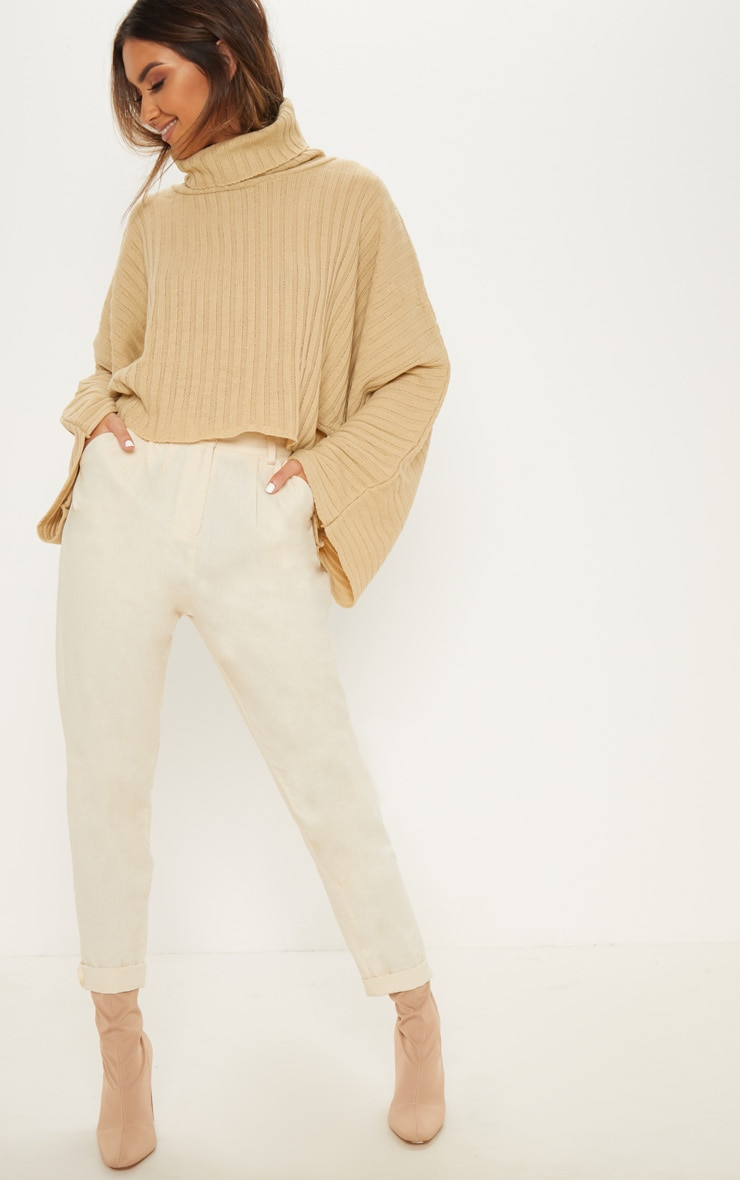 Camel Ribbed Knit High Neck Sweater  1