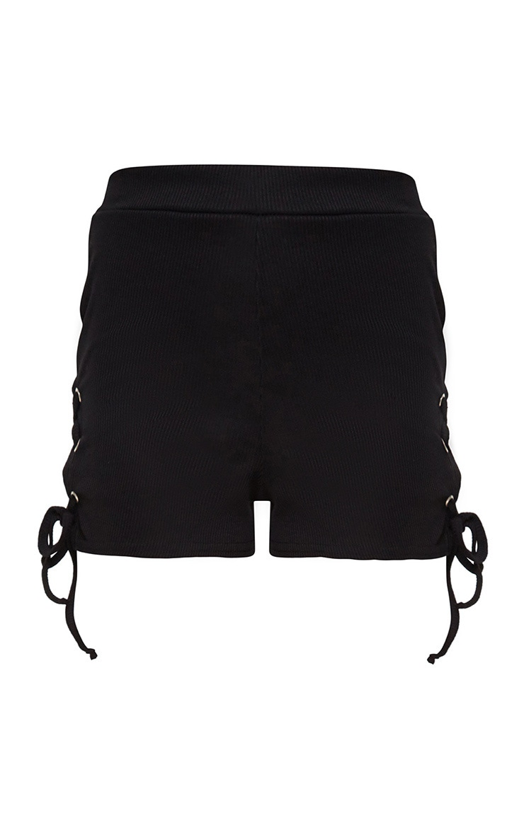 Black Ribbed Lace Up Shorts 3