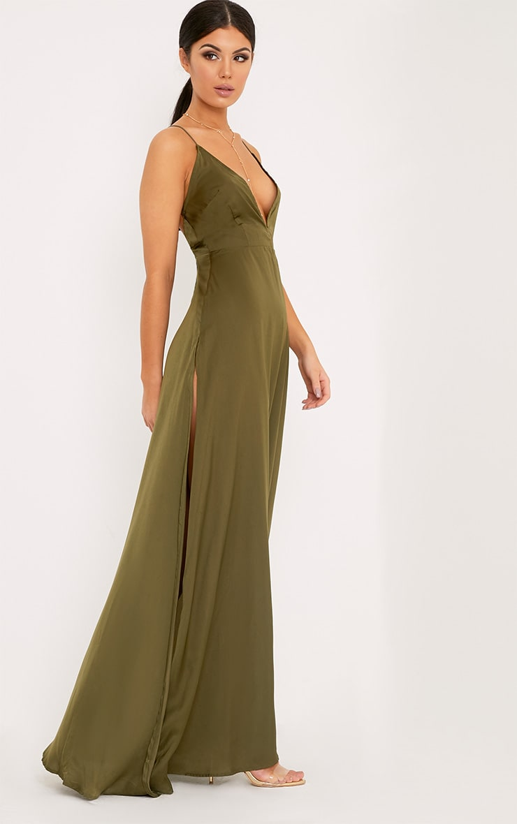 Beccie Khaki Extreme Split Strappy Back Maxi Dress 4