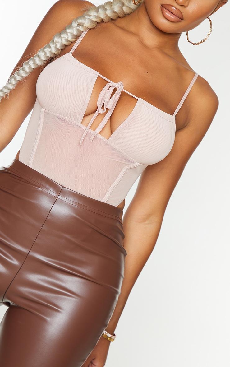 Shape Nude Mesh Ruched Strap Seam Detail Bodysuit 4