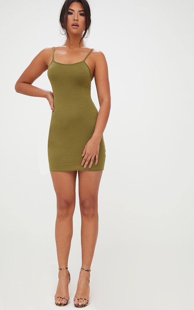 Olive Green Strappy Bodycon Dress 4