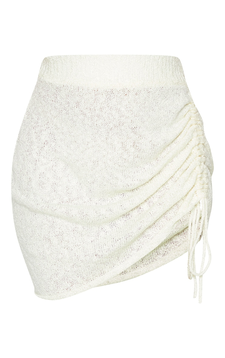 White Ruched Tie Front Knit Mini Skirt 6