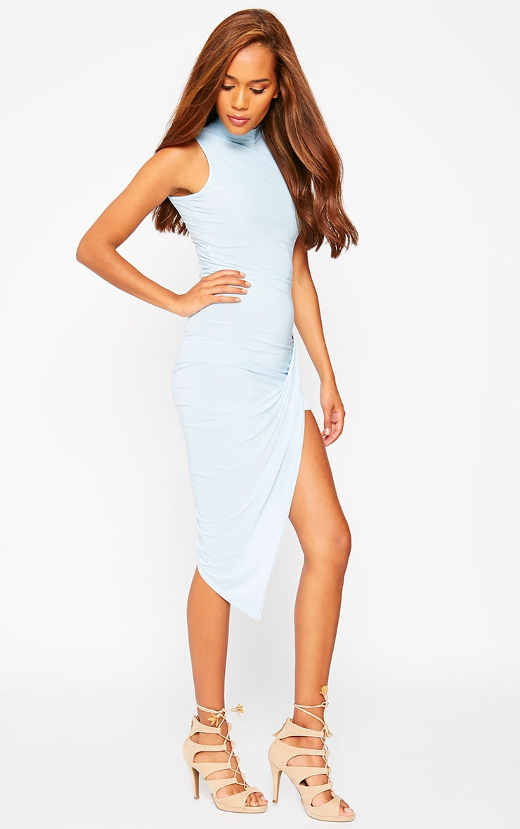 Prim Blue Slinky Drape Asymmetric Dress 3