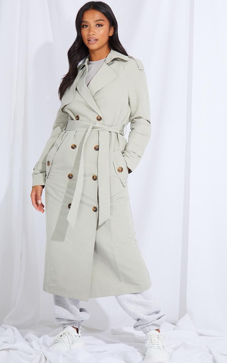 Petite Khaki Oversized Trench Coat 1