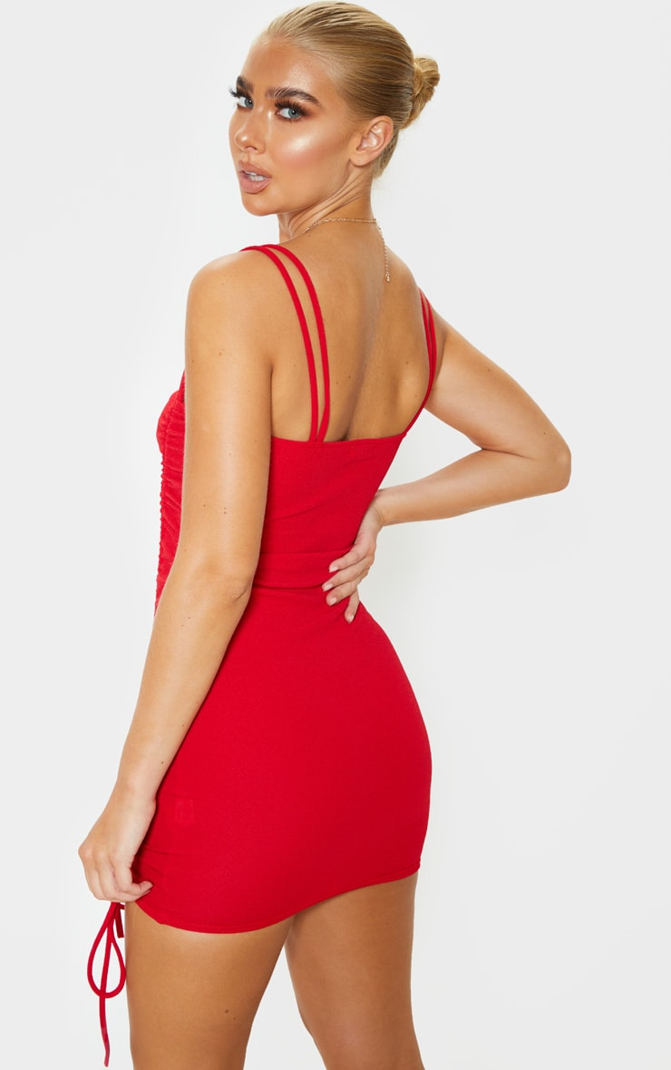 Red Ruched Front Strappy Bodycon Dress 2