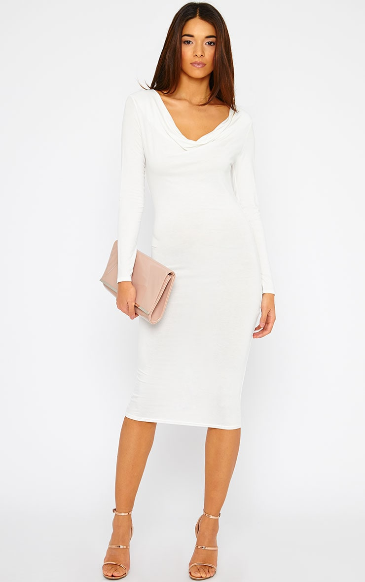 Lise Cream Jersey Cowl Neck Midi Dress 1