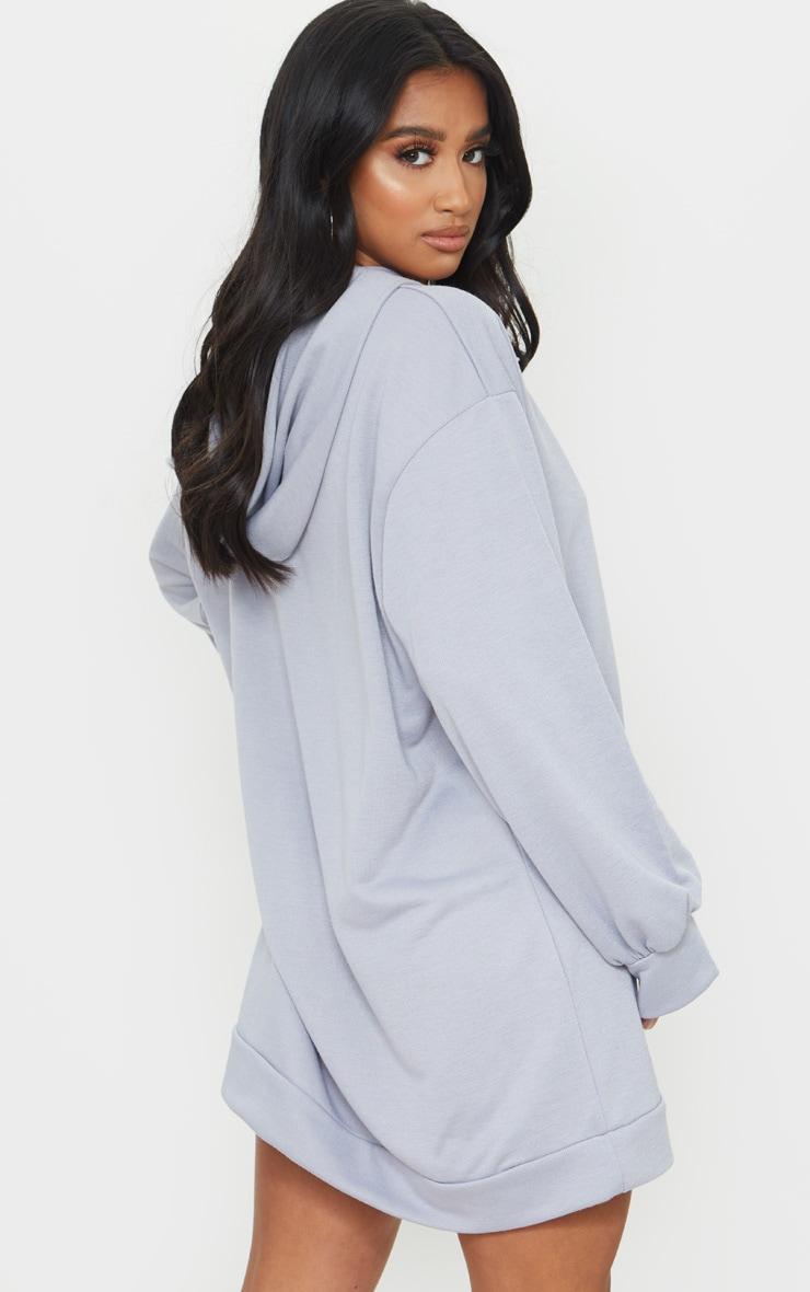 Petite Grey Oversized Hoodie Sweater Dress 2