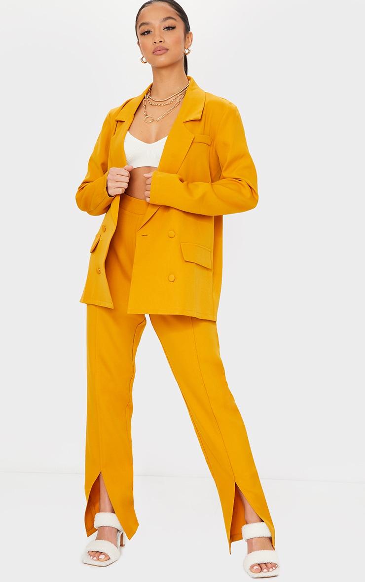 Petite Mustard Tailored Split Hem Straight Leg Pants 1