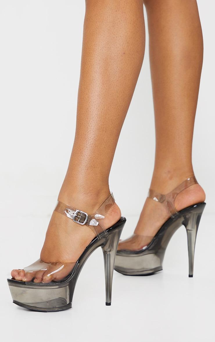 Black Extreme Clear Platform Sandals 1