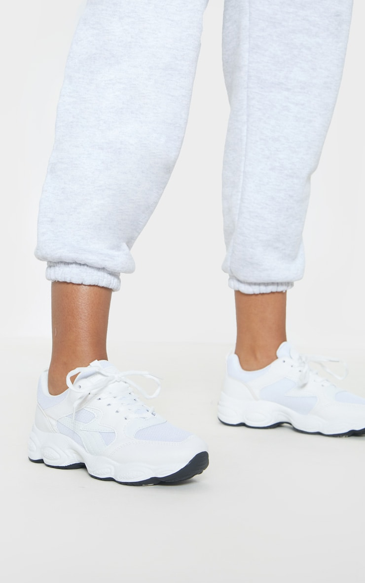 White Basic Chunky Sneakers 2