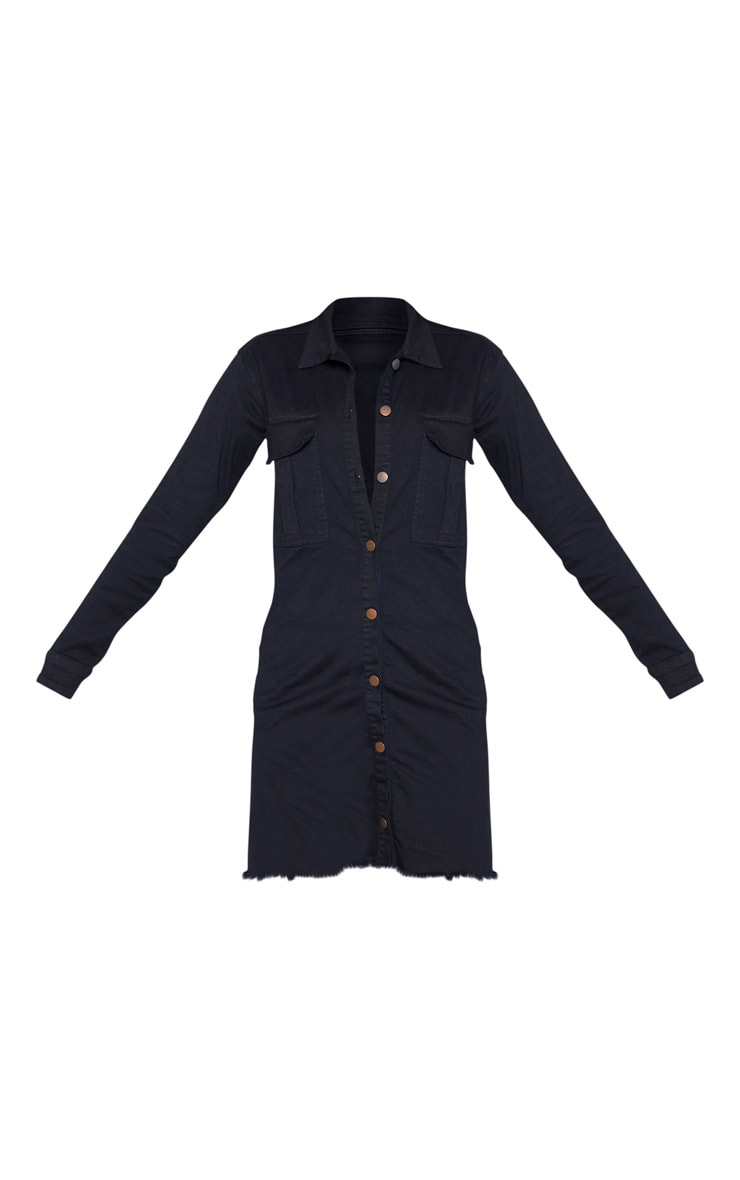 Tall Black Button Front Denim Shirt Dress 3