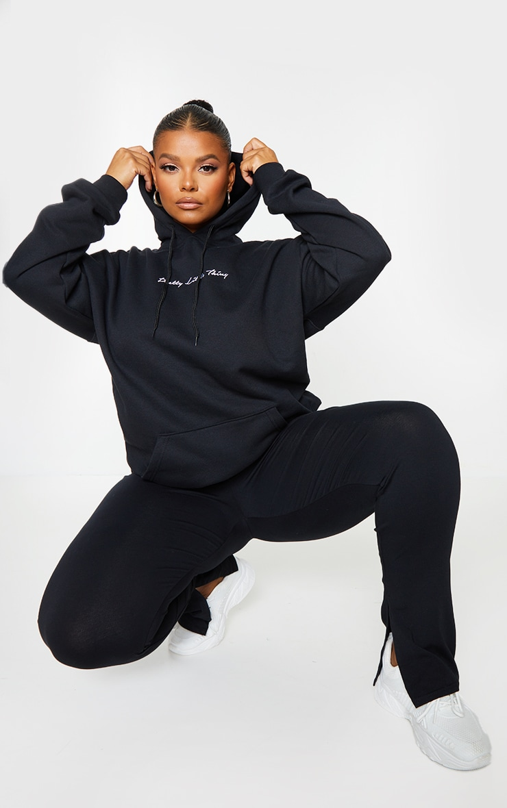 PRETTYLITTLETHING Plus Black Embroidered Oversized Hoodie 1