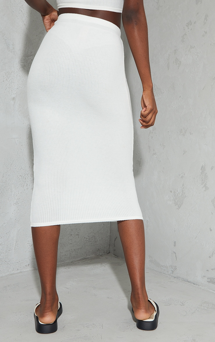 Tall Cream High Waisted Brushed Midi Skirt 3