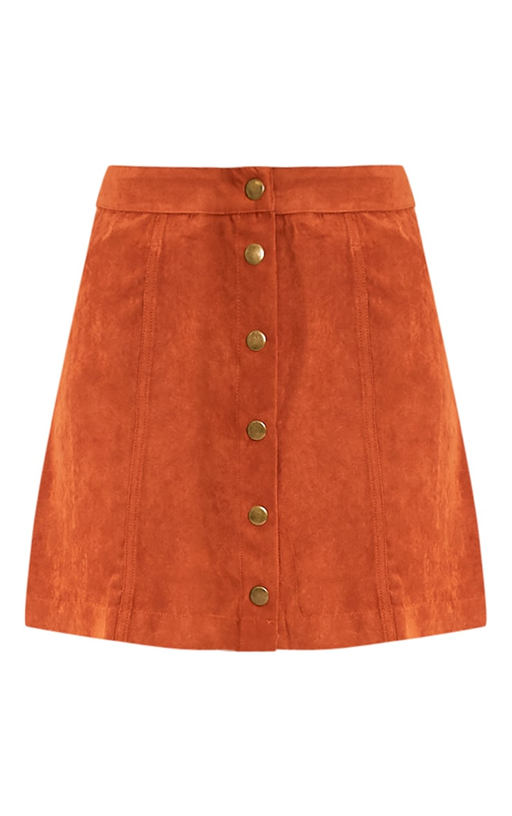 Carmelita Rust Suede Button Front Skirt 3