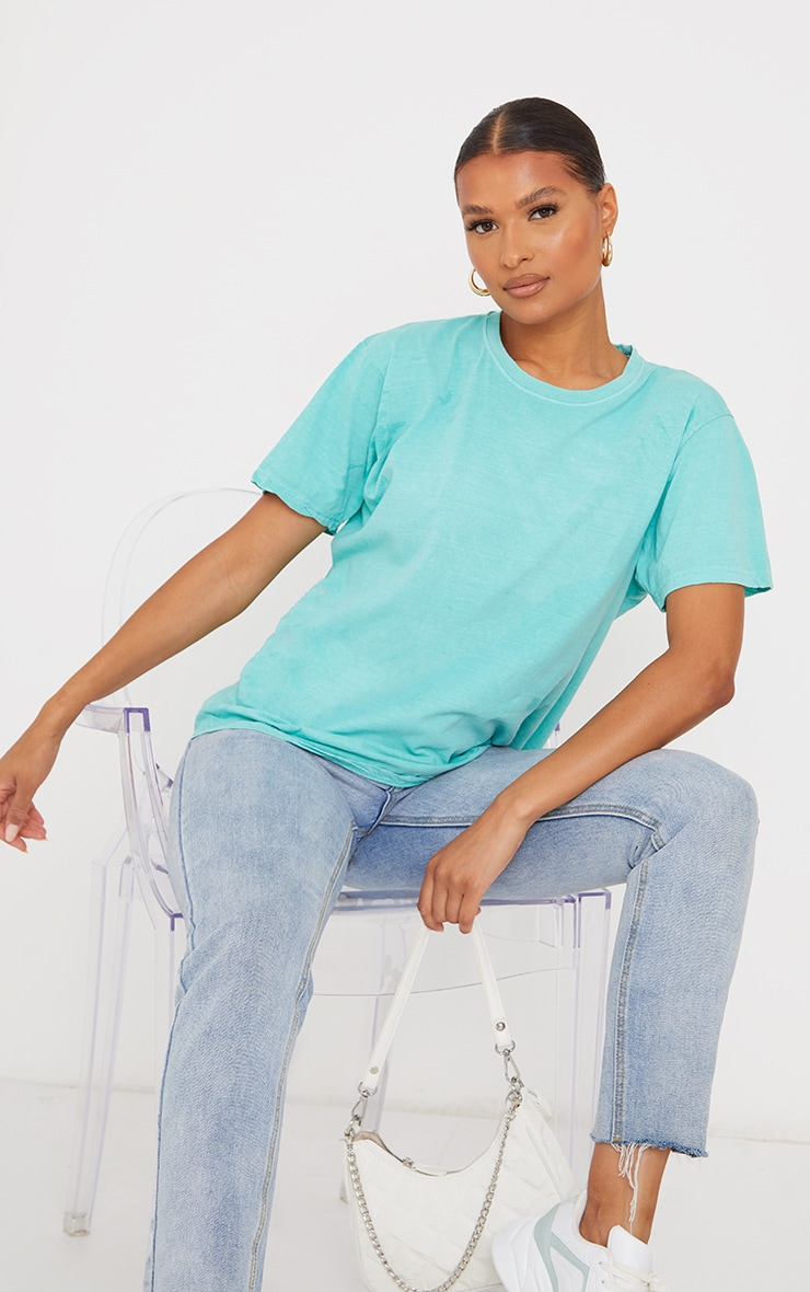 Bright Green Washed Oversized T Shirt 1