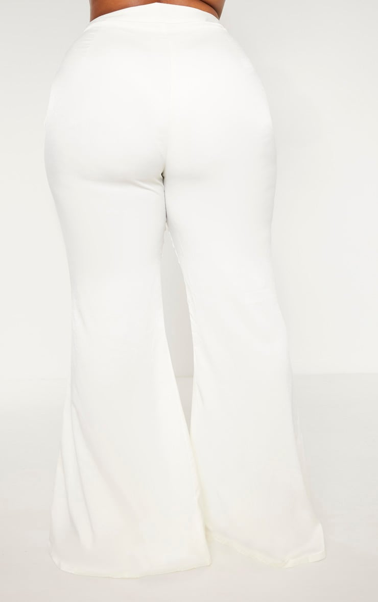 Plus Cream Tailored Extreme Flared Pants 4