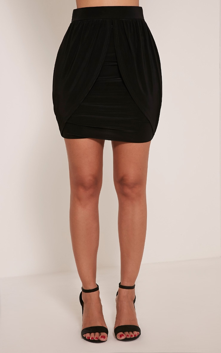 Kelsie Black Drape Layered Slinky Mini Skirt 3
