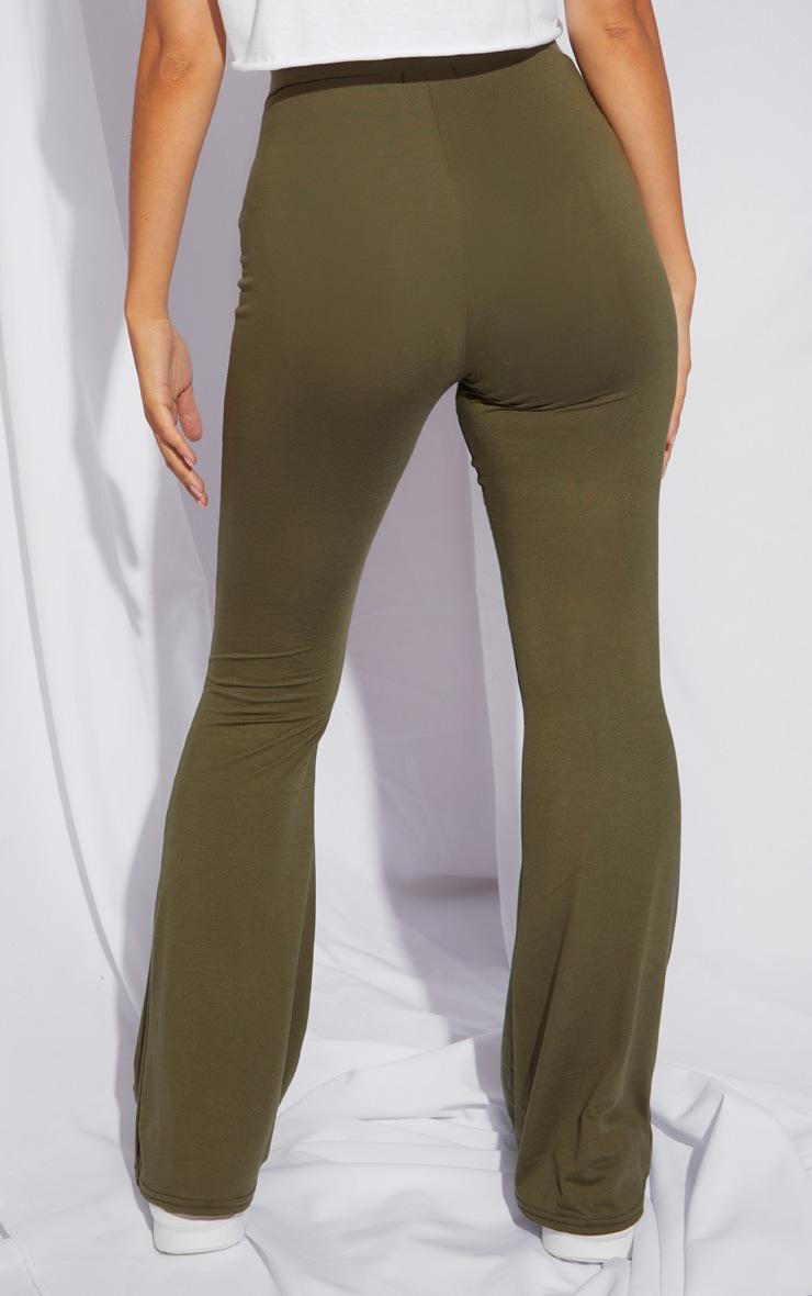 Petite Khaki Jersey Wide Leg Flares 3