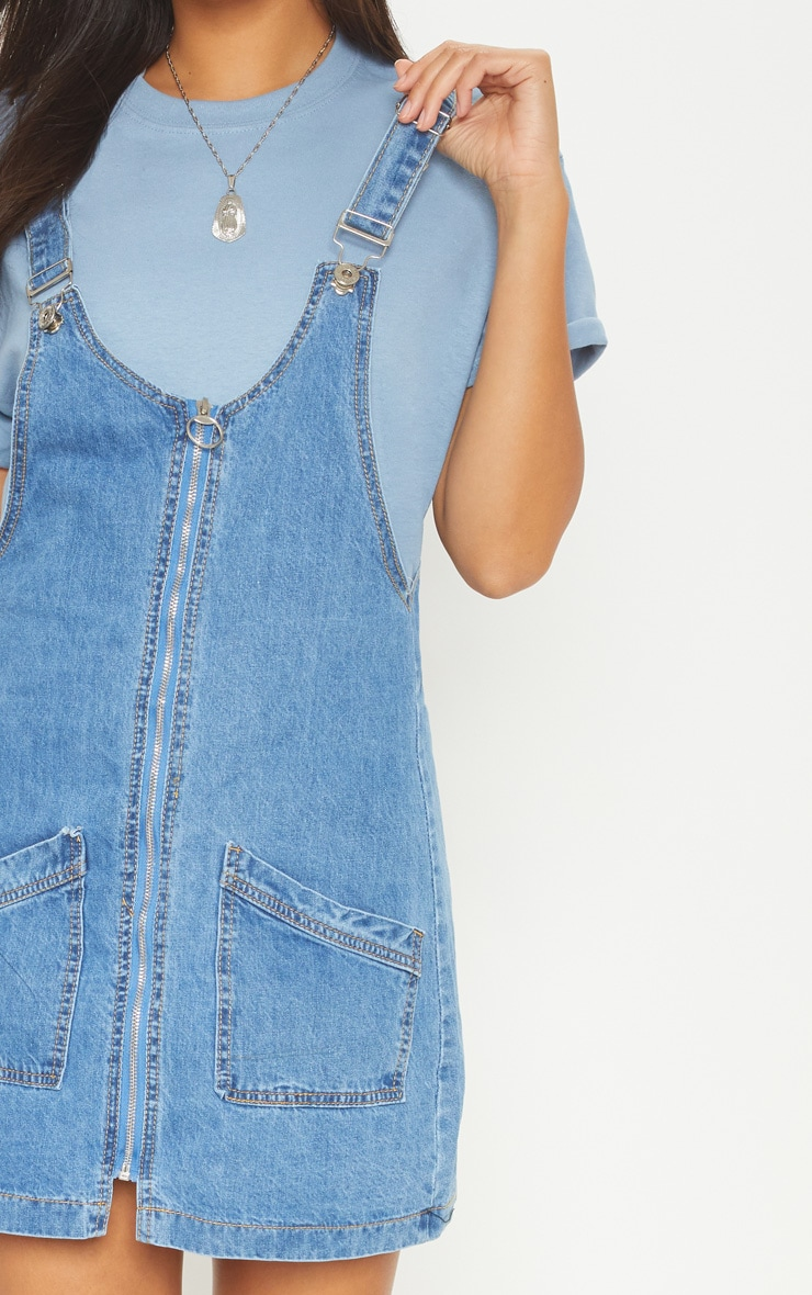 Mid Wash Zip Front Denim Pinafore Dress 5