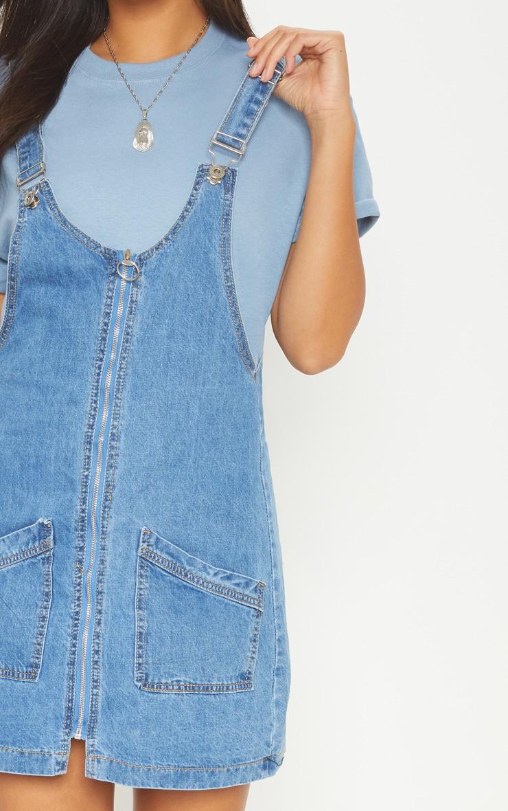 47ef0ad56e Mid Wash Zip Front Denim Pinafore Dress image 5