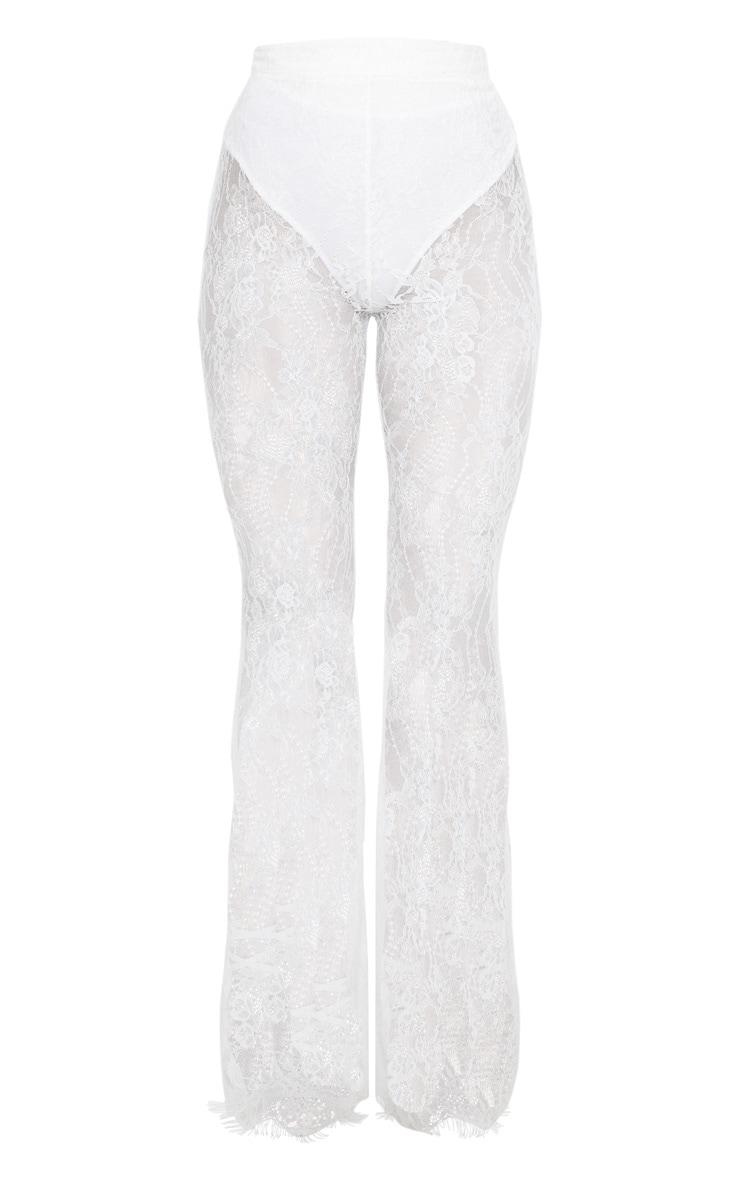 White Lace Flare Leg Trouser 3