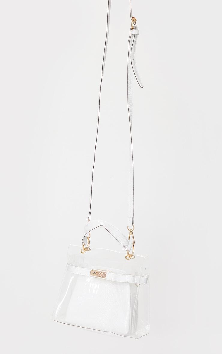 Clear Mini Cream Croc Cross Body Bag 2