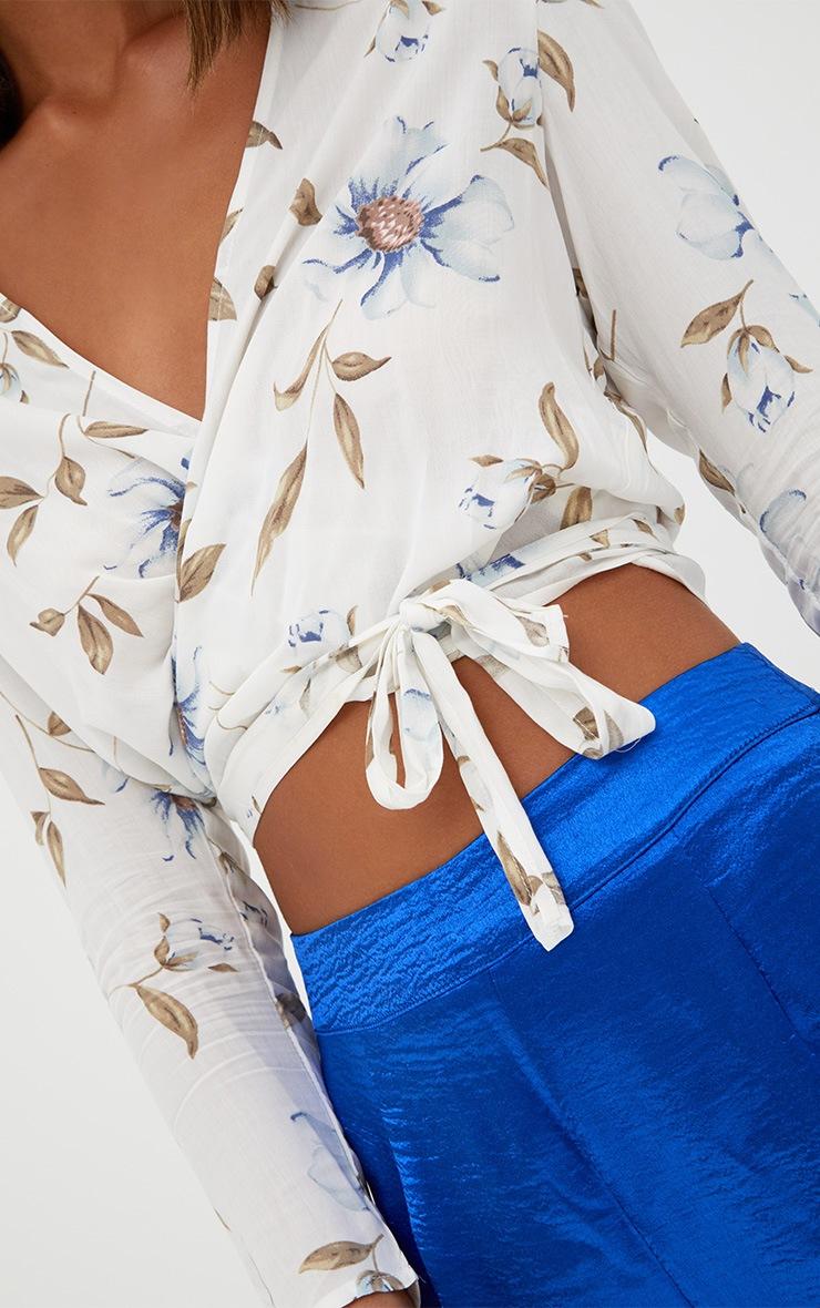 Blanche Cream Floral Print Tie Front Shirt  4