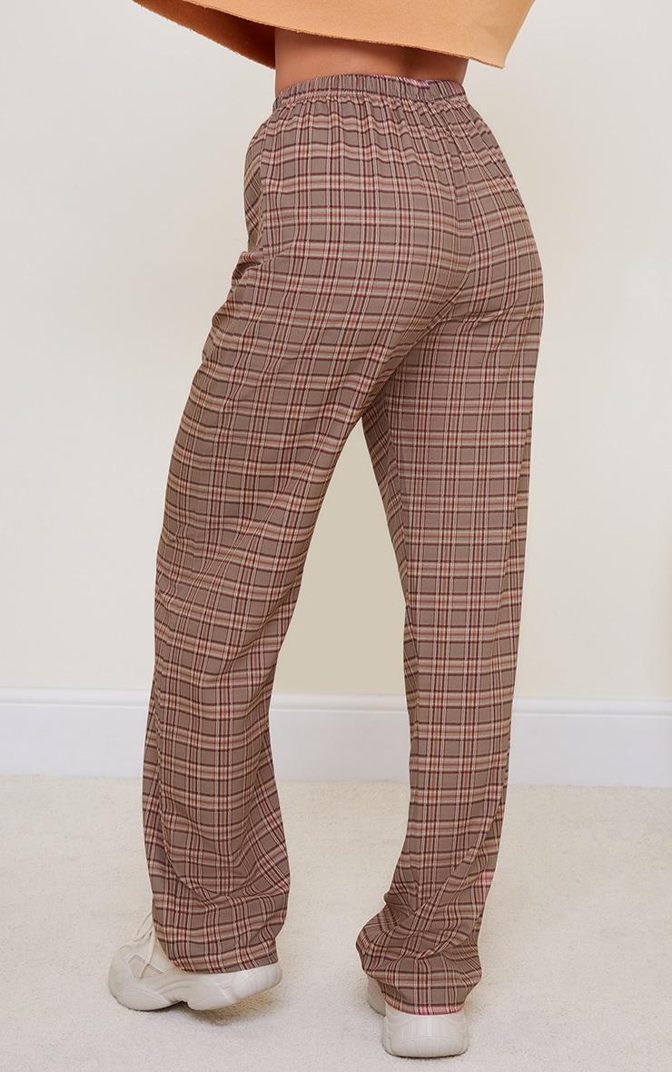 Brown Classic Check Wide Leg Pants 3