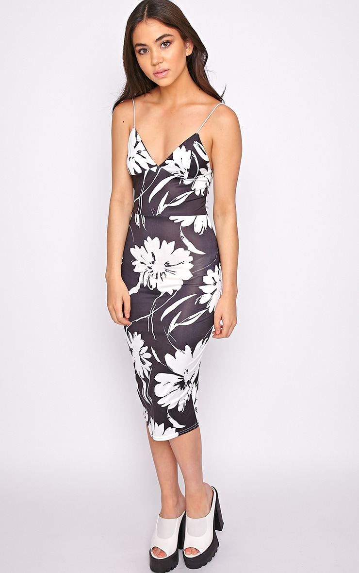Amaya Monochrome Floral Print Midi Dress 3