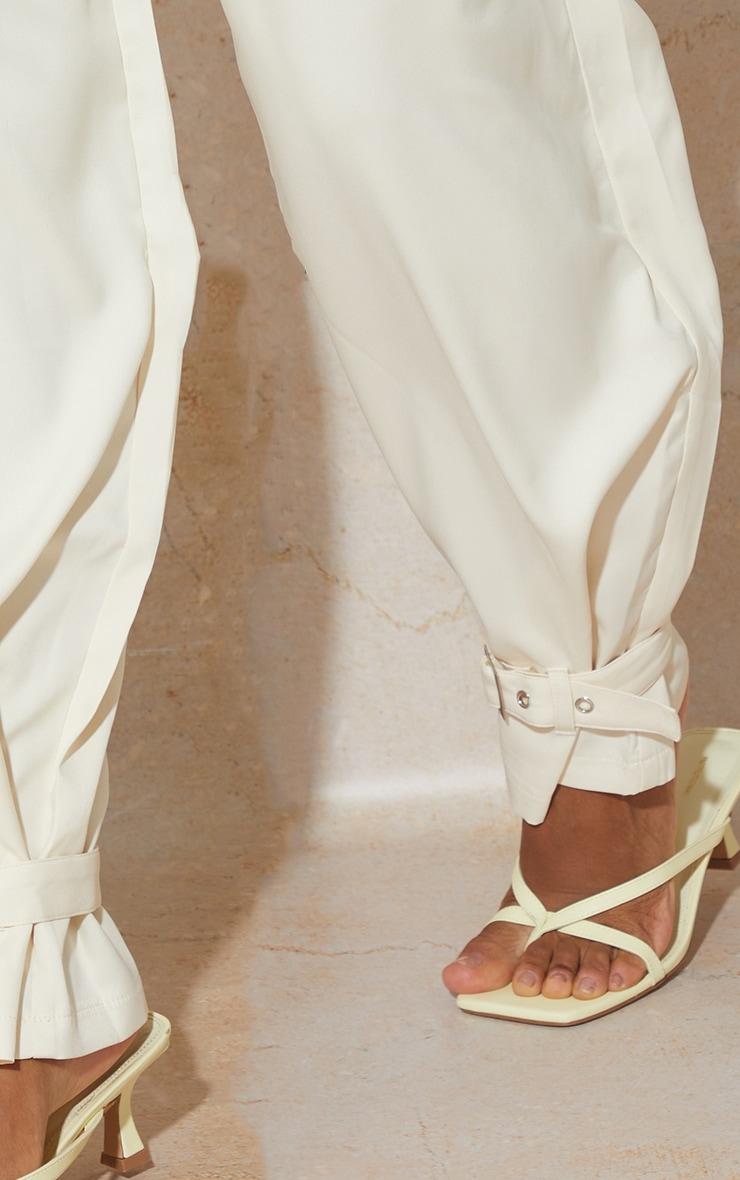 Cream Woven Buckle Cuff Straight Leg Trousers 4