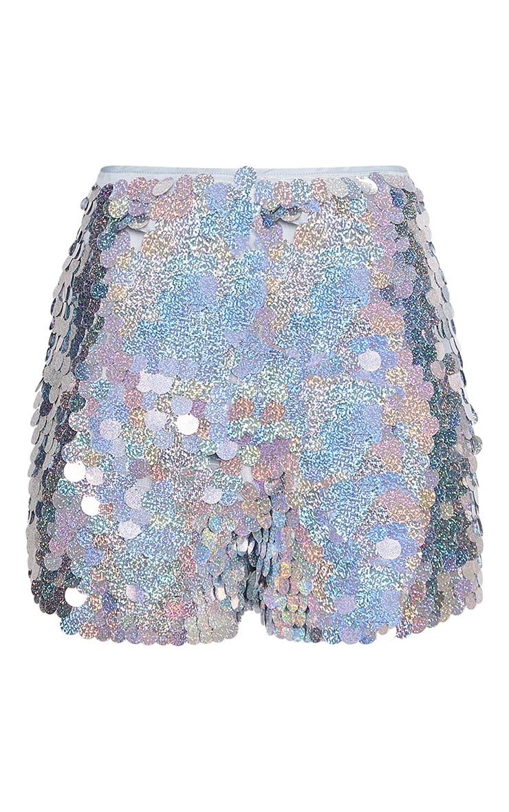 Silver Holographic Sequin Shorts 3