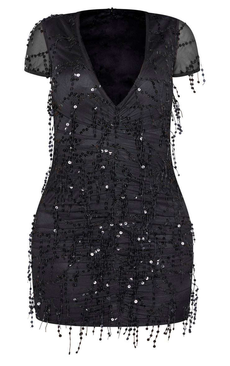 Shape Black Sequin Ruched Bodycon Dress  3