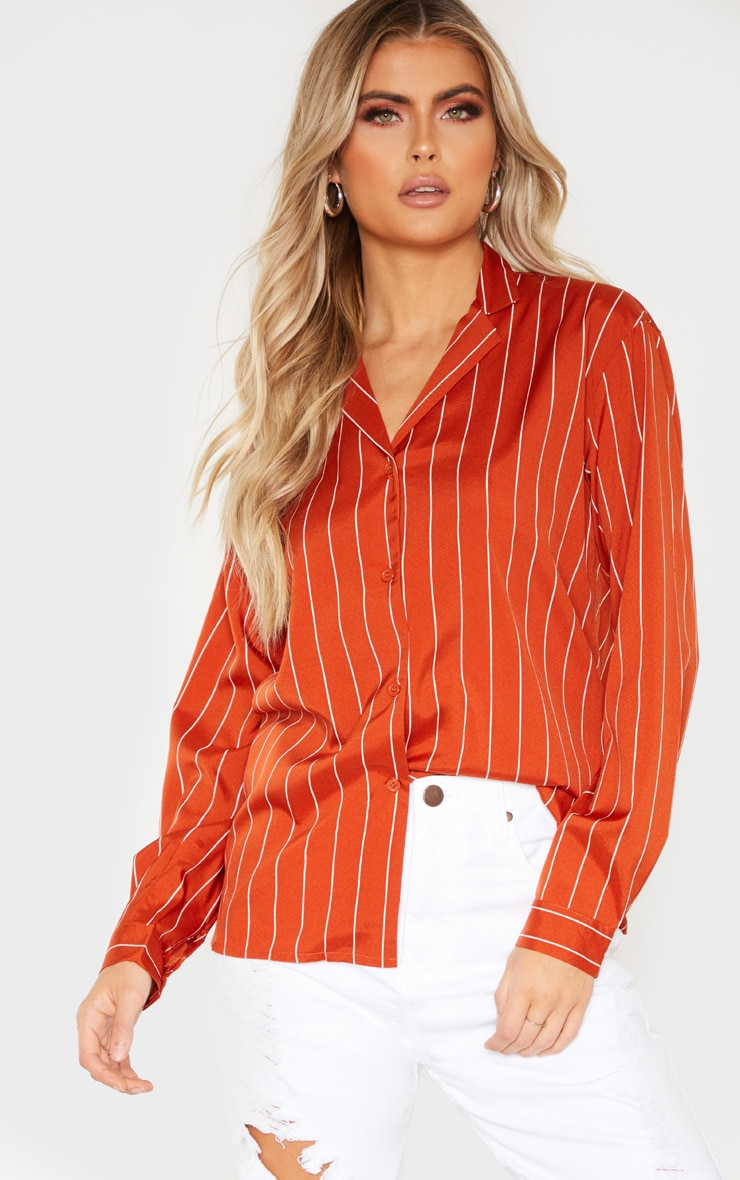 Tall Orange Stripe Print Long Sleeve Shirt 1