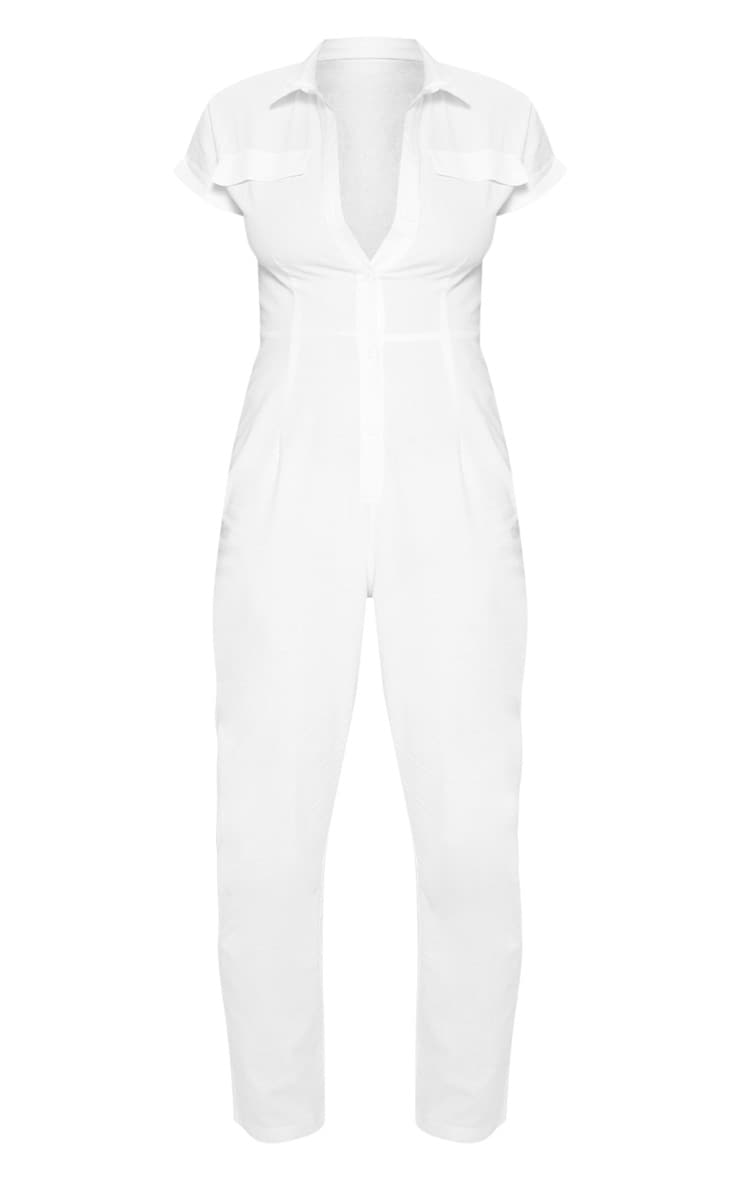 Petite White Short Sleeve Utility Jumpsuit 3
