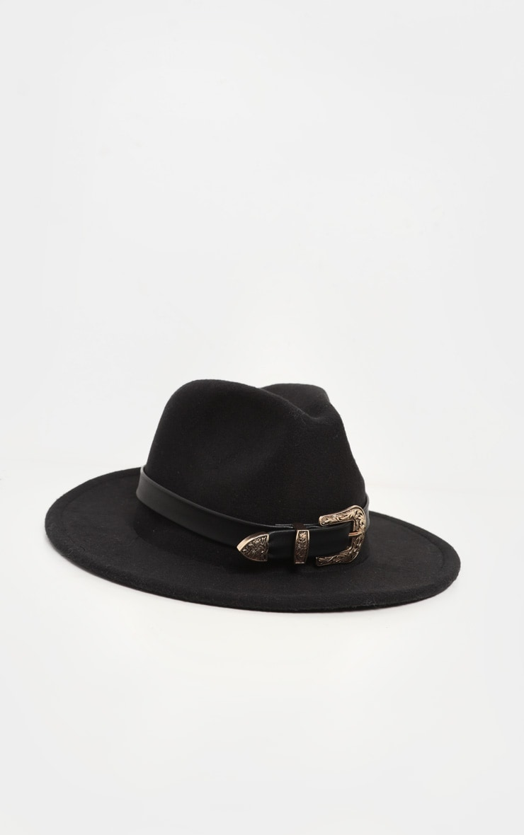 Black Western Buckle Trim Fedora Hat 2