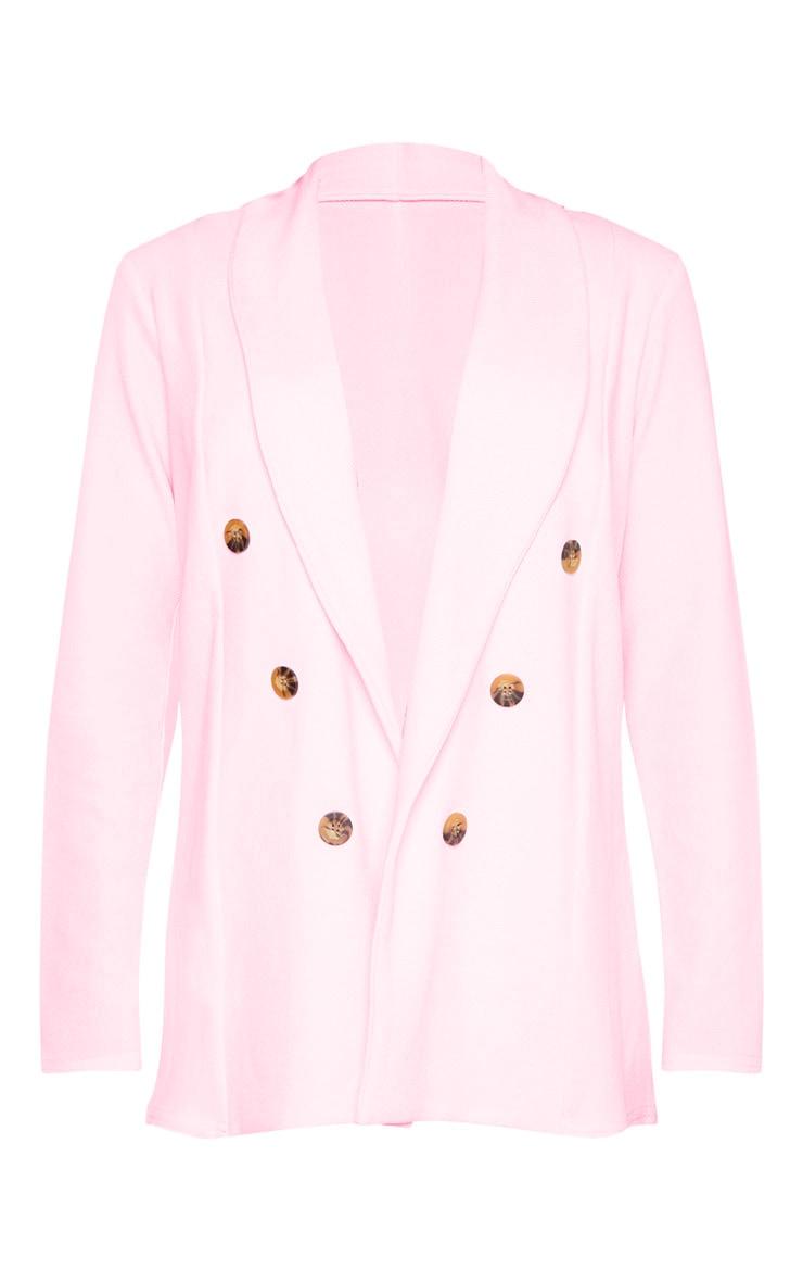 Petite Baby Pink Oversized Button Detail Blazer  3