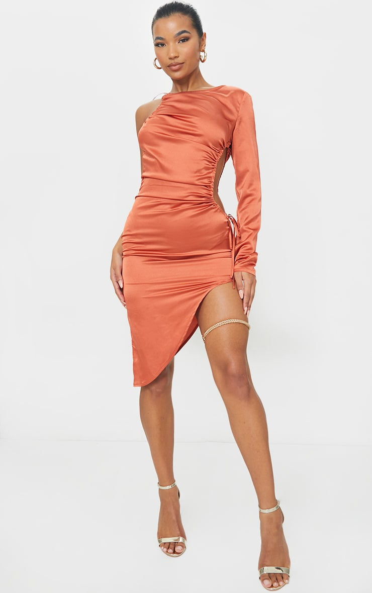 Rust Satin Waist Cut Out Bodycon Dress
