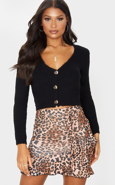 Leopard Print Wrap Over Mini Skirt