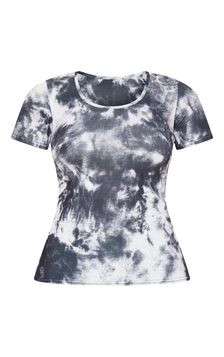 Black Tie Dye Printed Fitted T Shirt 3