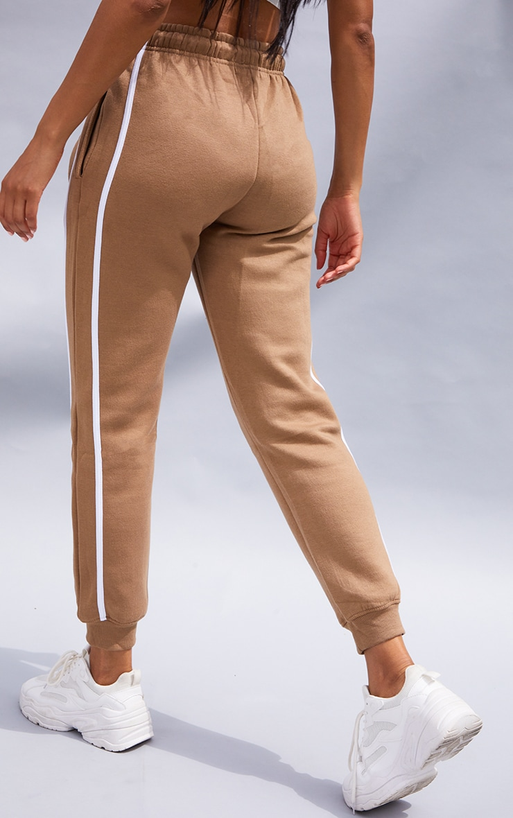 Taupe Double Side Stripe Joggers 3