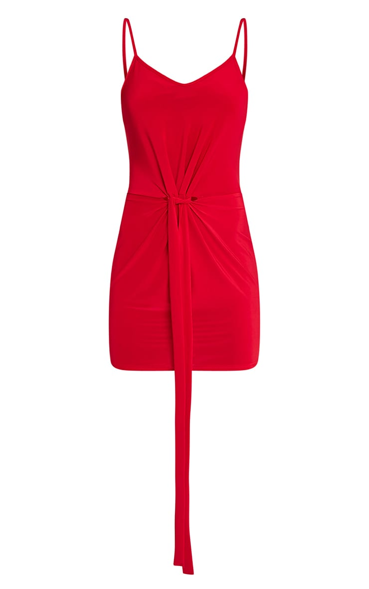 Sian Red Slinky Knot Front Bodycon Dress 3