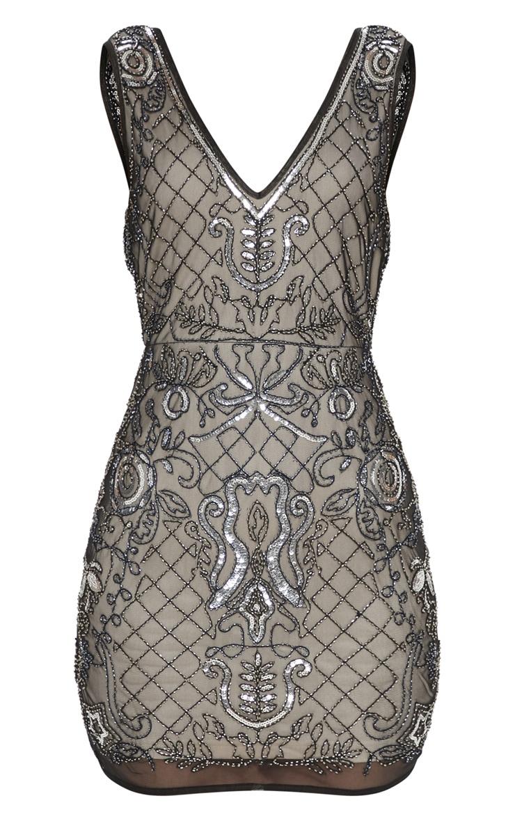 Black Sequin Nude Embellished Plunge Bodycon Dress 3