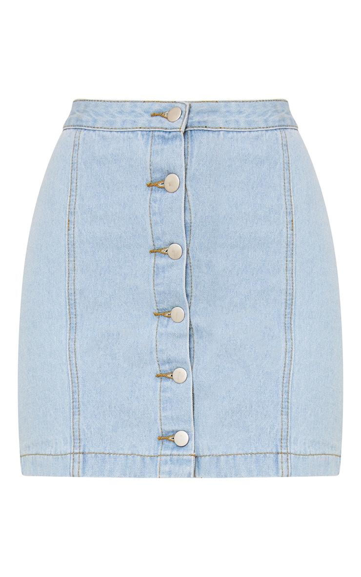 Kaela Light Wash Denim Button Down Skirt 3