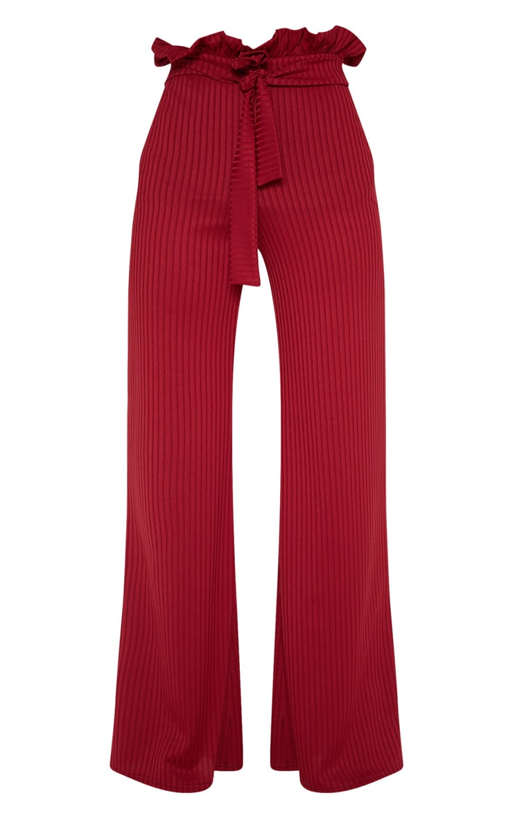 Burgundy Rib Tie Waist Wide Leg Pants 3