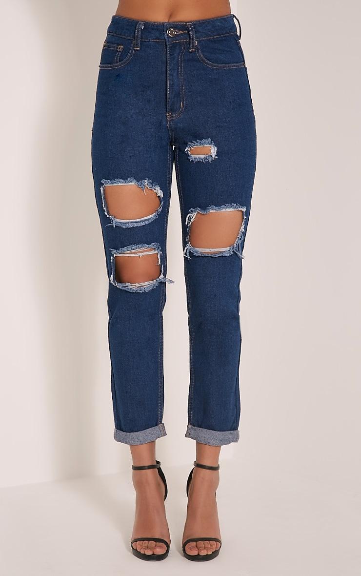 Carley Blue Dark Wash Extreme Rip Straight  Leg Jeans 2