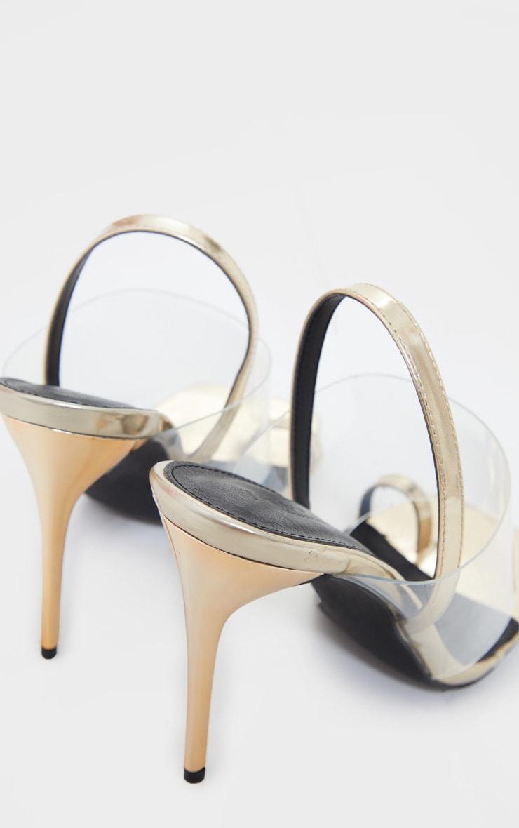 Gold Clear Strap Toe Loop Sling Back High Heel Sandals 4