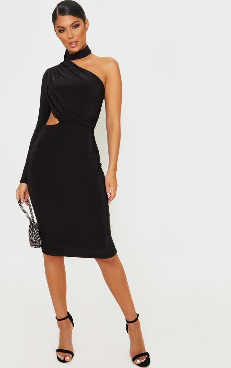 Black Ruched One Shoulder Midi Dress 1