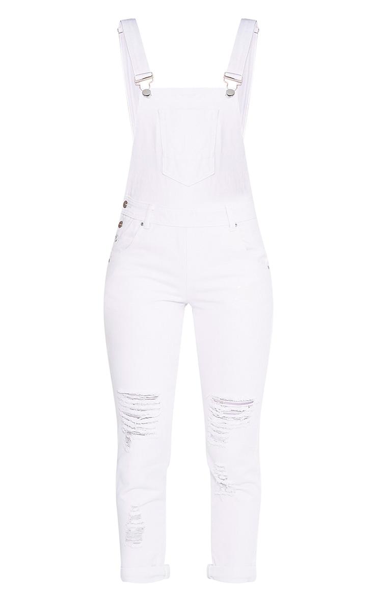 Ann salopette en jean blanche 3