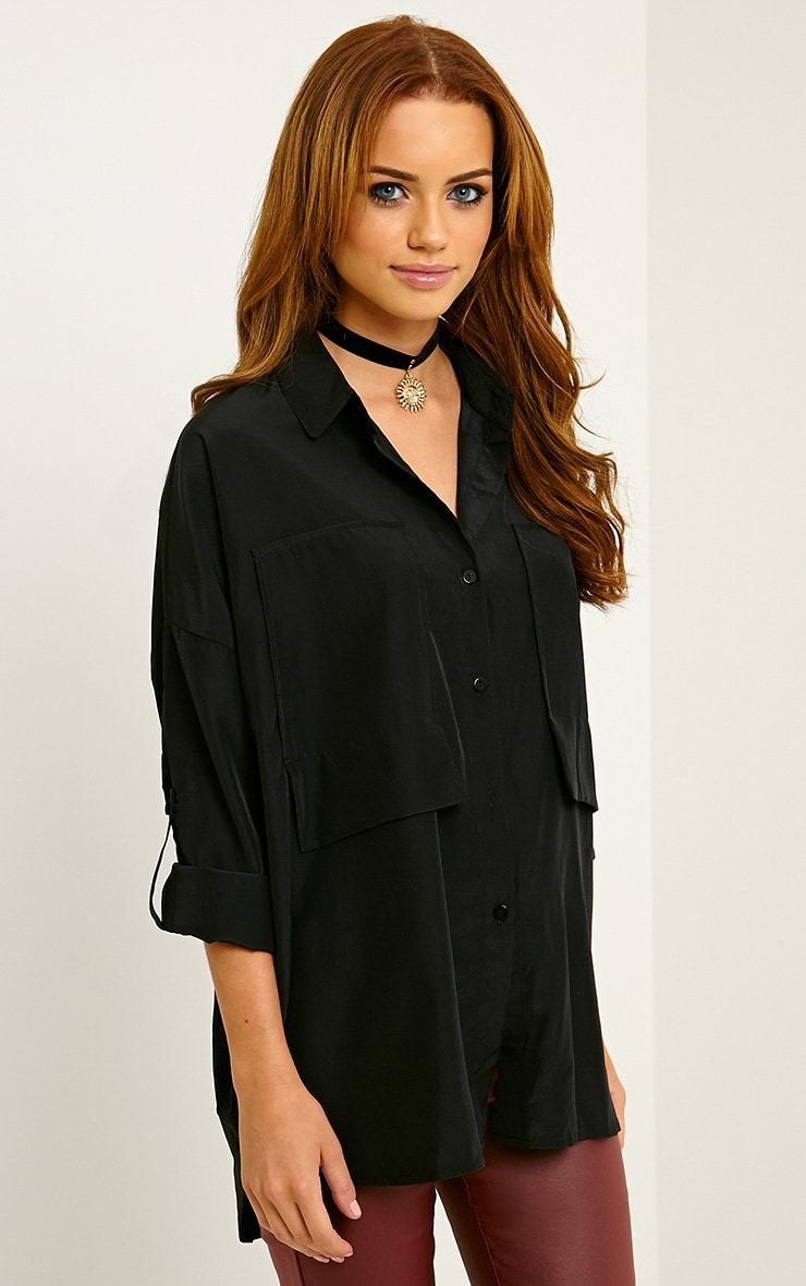 Birta Black Oversized Pocket Shirt 4
