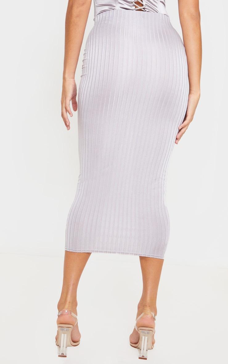 Grey Slinky Rib Midi Skirt 4